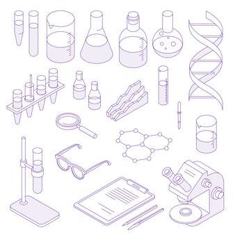 細い線等尺性実験室セット。科学細い線図のコレクション