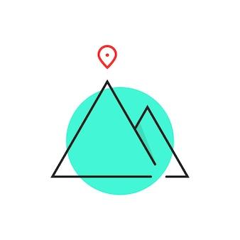 녹색 원의 얇은 선 리더십 로고. alpinism, 솔루션, 스키, 바위, 목표, 방법, 지도 핀, 달성의 개념. 흰색 배경에 고립. 플랫 스타일 트렌드 브랜드 디자인 벡터 일러스트 레이션