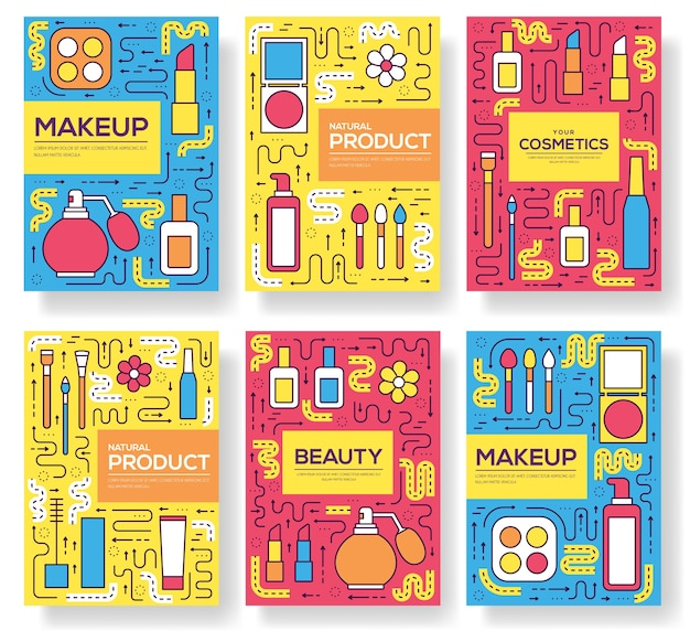 Thin line makeup tools modern. infographic cosmetic equipment for beauty. icons on isolated white.