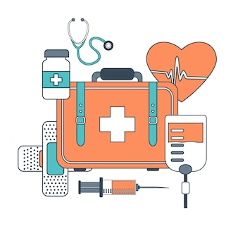 Thin line medicine icon set
