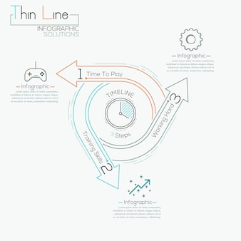 Thin line minimal arrow business cycle infographic template