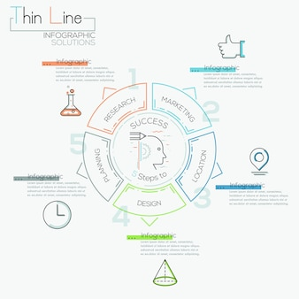 Thin line minimal arrow business cycle template.