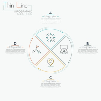 Thin line minimal arrow business infographic pizza circle template