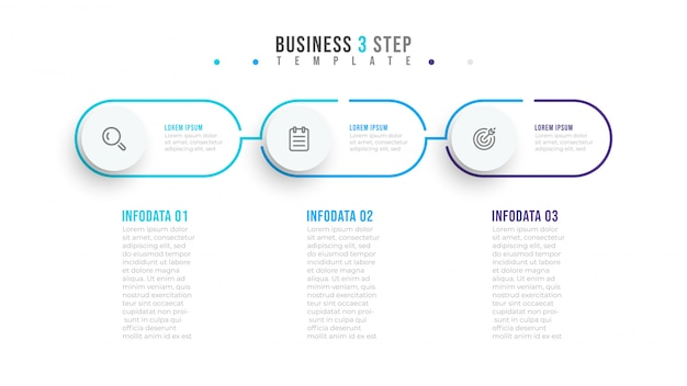 Thin line minimal infographic design label with circles. business concept with  3 options or steps.