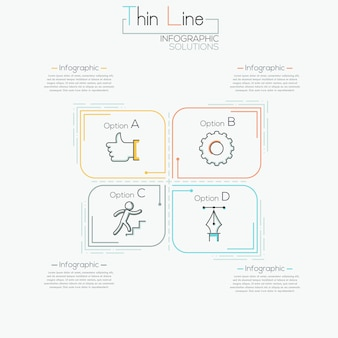 Thin line minimal infographics template for 4 options