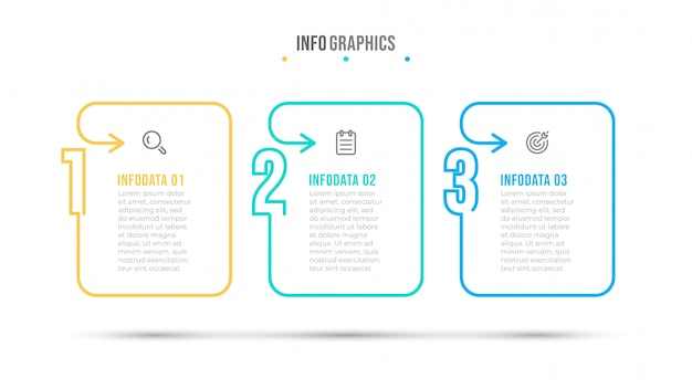 Thin line and number infographic design template. business concept with icon and 3 options, steps or processes.