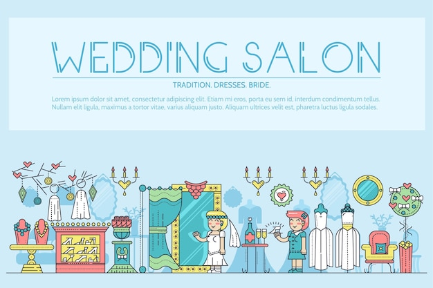 살롱에서 결혼식을 준비하는 드레스를 선택하는 얇은 선 사람들. 웨딩 살롱 개요에 여자입니다.