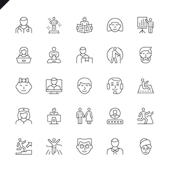 Thin line people icons set