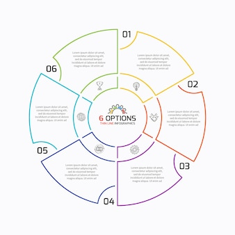 Thin line pie chart infographic template with 6 options. vector illustration.