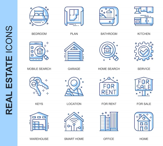 Thin line real estate related icons set