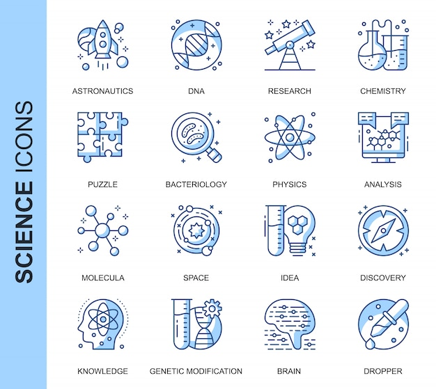 Thin line science related icons set