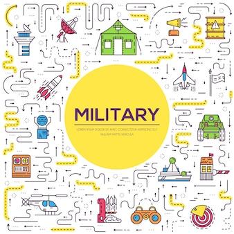 軍事基地のコンセプトに基づいたさまざまなロケット兵器と車両の細い線のセット