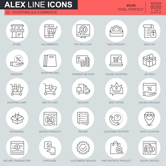 Thin line shopping and e-commerce icons set