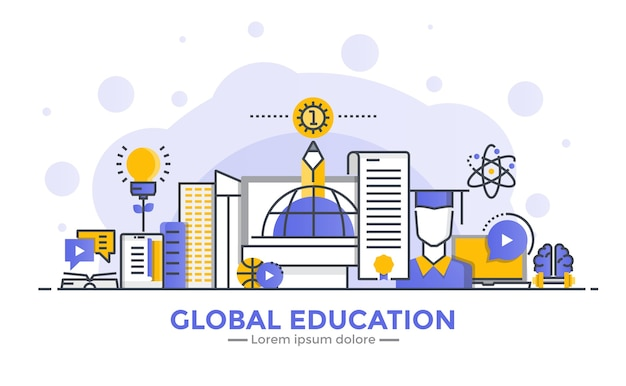 Thin line smooth gradient flat design banner of global education