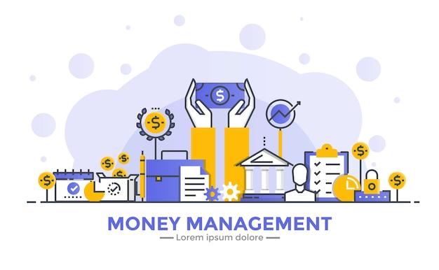 お金の管理の細い線の滑らかなグラデーションフラットデザインバナー
