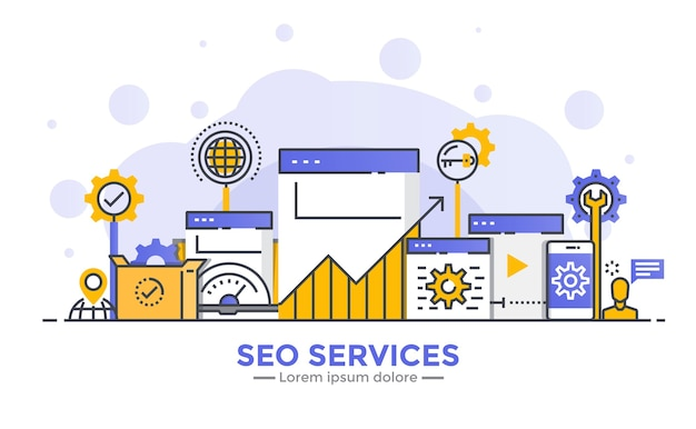 Thin line smooth gradient flat design banner of seo services