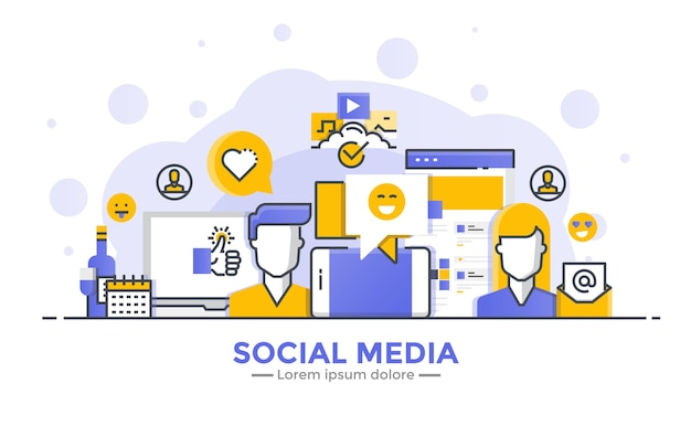 Thin line smooth gradient flat design banner of social media