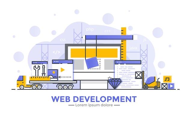 Thin line smooth gradient flat design banner of web development