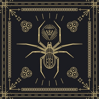 Thin line spider hipster label.  insect animal, vintage and retro, golden frame.