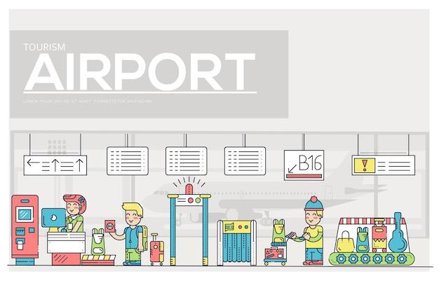 空港で人と荷物を登録している細い線のスタッフ。