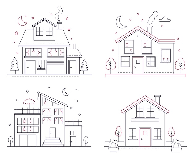 Тонкая линия загородных американских домов. гражданские здания классической архитектуры