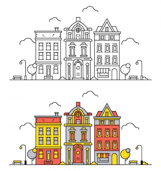 Thin line town landscape in flat outline style