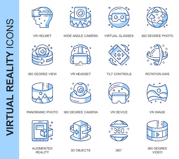 Thin line virtual reality related icons set