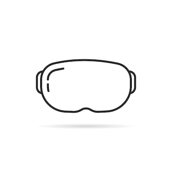 Thin line vr glasses with shadow. concept of cyberpunk illusion, futuristic screen, tech, stereoscopic equipment. flat linear style trend modern logotype design vector illustration on white background