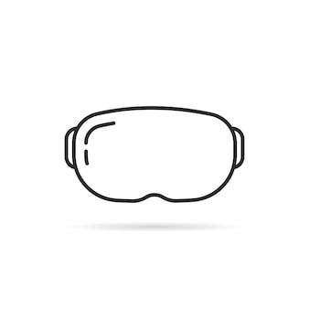 影付きの細い線のvrメガネ。サイバーパンクイリュージョン、未来的なスクリーン、ハイテク、立体視機器のコンセプト。フラット線形スタイルトレンドモダンなロゴタイプデザインベクトルイラスト白地に
