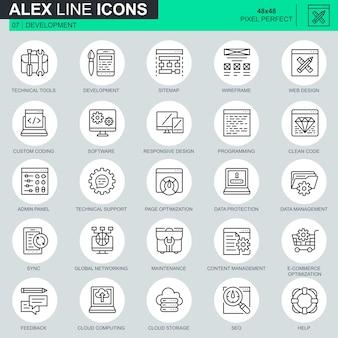 Thin line web design and development icons set