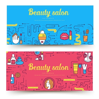 Тонкая линия салона красоты с набором ассортиментных карточек. косметологический шаблон flyear, обложки книги, баннеров.