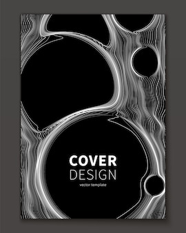 Thin lines and bubble abstract cover template