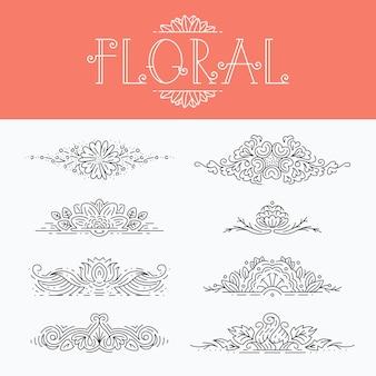 얇은 모노 라인 꽃 장식 요소, 격리 된 장식용 헤더 세트