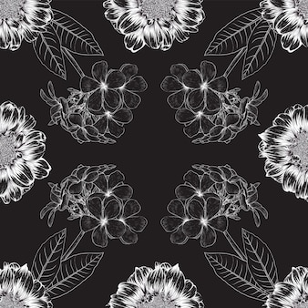 Thin white lines floral pattern design on black background