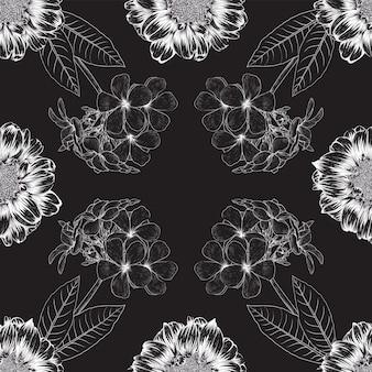 黒の背景に細い白い線の花柄のデザイン Premiumベクター