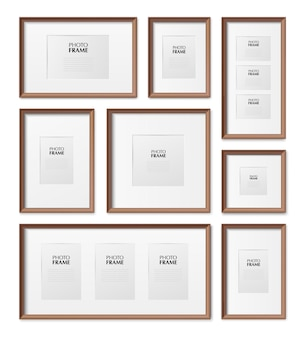 Thin wooden rectangular and square picture frames different sizes realistic mockup set isolated