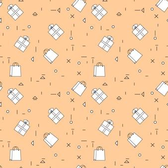 買い物袋およびギフト用の箱のシームレスなパターンthineライン