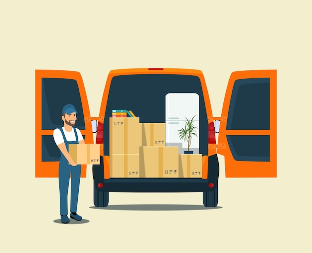 Things in box in the trunk of the cargo van. man with cardboard boxes. vector illustration.