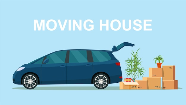 Things in the box next to the trunk of the minivan. moving with boxes. vector illustration
