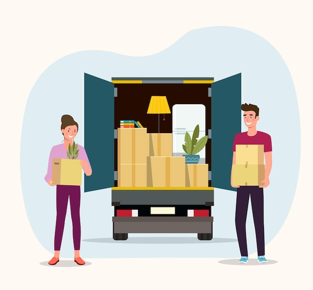 Things in box in the trunk of the truck. man and woman hold boxes. moving house. vector illustration