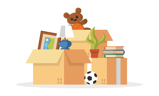 Things collected to pile ball, teddy bear, plant, books, picture, cardboard boxes for relocation, moving to other , apartment, house. transport or removal company services. cartoon . Premium Vector