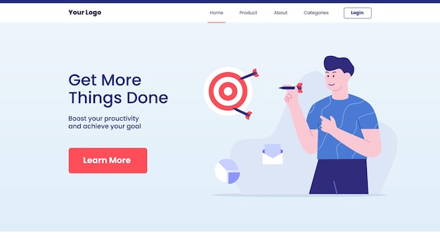 Things done concept for website template or landing homepage design