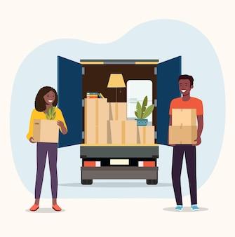 Вещи в ящике в багажнике грузовика. афро-американские мужчины и женщины держат коробки. векторная иллюстрация