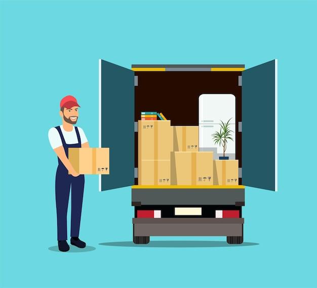 Вещи в ящике в багажнике грузовика. человек с картонными коробками. векторная иллюстрация