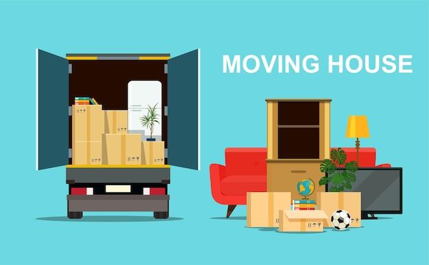 Вещи в ящике в багажнике грузовика. дом на колесах. векторная иллюстрация плоский стиль