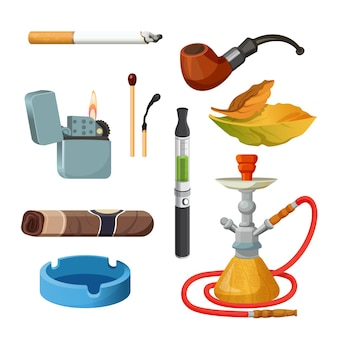 Things for smoking realistic colourful collection on white. tobacco and smoking sketch set.  poster of cigarettes, cigars, hookahs, tobacco leaves, ceremonial pipe, lighter and ashtray.