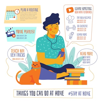 Things you can do at home cat and man infographic