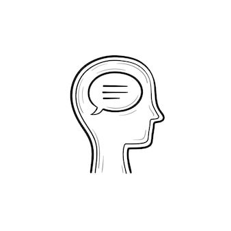 Think bubble in humans head hand drawn outline doodle icon