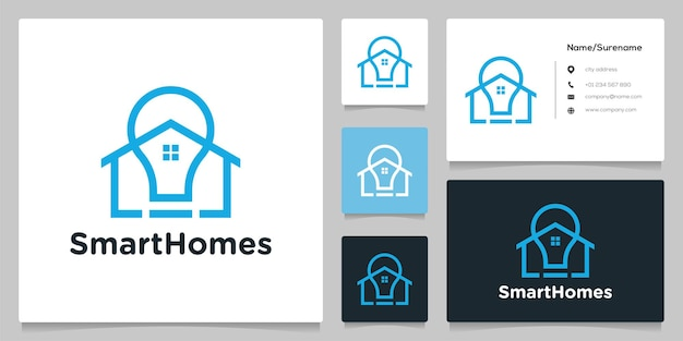 Think bulb home real estate line outline logo design with business card