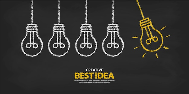 Think different and stand out from the crowd concept creative idea with glow light bulb background